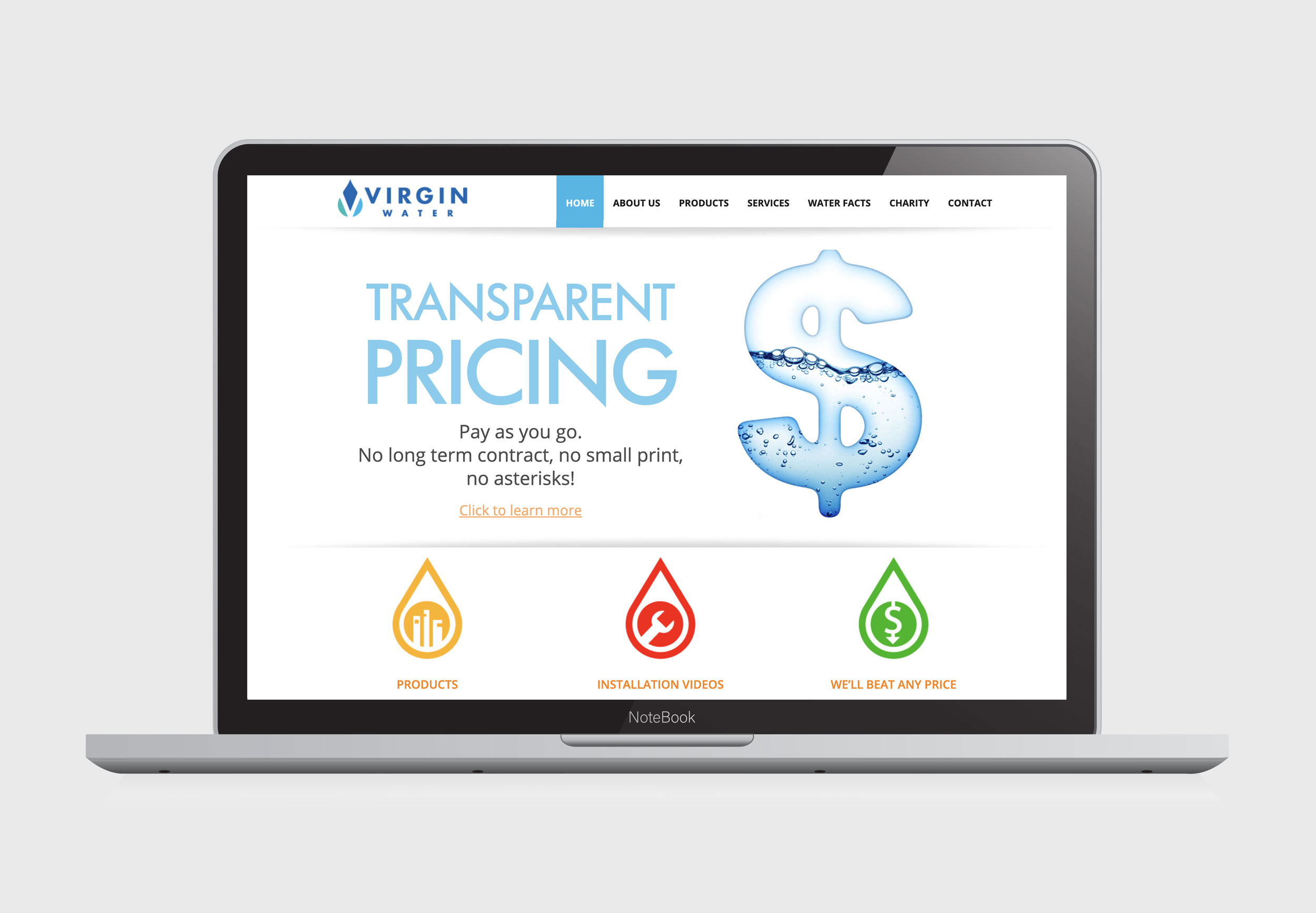 Web Design & Development – Virgin Water Canada